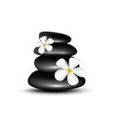 Spa stenar med vita blommor Arkivfoton