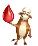 Spaß-Stier-Zeichentrickfilm-Figur mit Blutstropfen Stockfoto