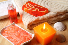 Spa still life. Spa resort therapy composition, candle, oil and salt crystals Stock Photography