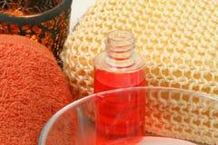 Spa still life. Closeup of spa accessories in orange colour Royalty Free Stock Photo