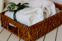 SPA still life. SPA still life with basket and white towels Royalty Free Stock Photography