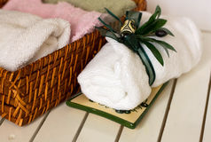 SPA still life. With basket and white towels Stock Image