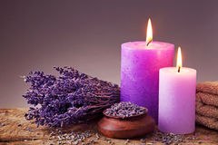 Spa still life. With candles and lavender Royalty Free Stock Image