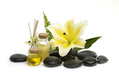 Spa still life. Aromatic spa set - reed diffuser and fresh white lily flower. with green leaf Stock Image