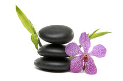 Spa still life. Spa and healthcare concept- Pink orchid and stacked stones Stock Photo