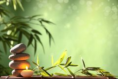 Spa still life. With stacked of stone and bamboo leaf Stock Photo