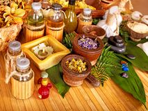 Spa still life. Spa still life with Thai herbal ball stock images