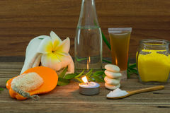 Spa still life with aromatic candles Royalty Free Stock Images