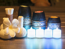 Spa still life with aromatic candles, select and soft focus Royalty Free Stock Photography
