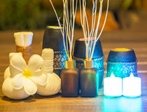 Spa still life with aromatic candles, select and soft focus Stock Photos
