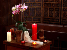 Spa still life with aromatic candles. Spa still life with aromatic white and red candles Royalty Free Stock Photos