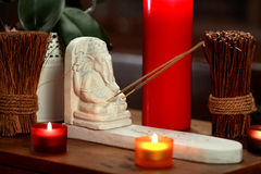Spa still life with aromatic candles. Spa still life with aromatic white and red candles Stock Images