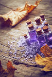 Spa still life with autumn leaves Stock Photos