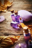 Spa still life with autumn leaves Royalty Free Stock Image