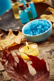 Spa still life with autumn leaves Stock Image