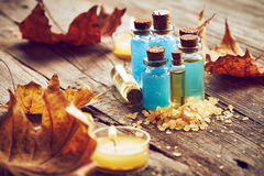 Spa still life with autumn leaves Royalty Free Stock Photos