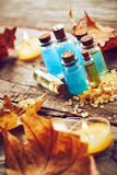 Spa still life with autumn leaves Stock Photo