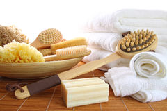Spa still life of bath brushes and sponges Stock Image