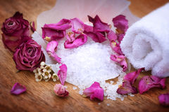 Spa still life with bath salt Royalty Free Stock Images