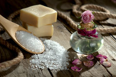 Spa still life with bath salt and essential oil Stock Images