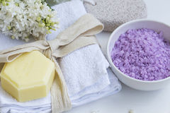 Spa still life with bath salt. Spa still life with organic soap, towel , lilac flowers and bath salt Royalty Free Stock Image