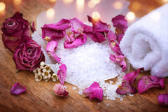 Spa still life with bath salt Stock Photo