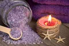 Spa still life with bath salt and starfishes Royalty Free Stock Image