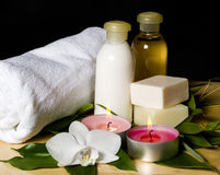 Spa still life with bath things Stock Images