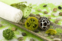 Spa setting with bath towels and salt Stock Photography