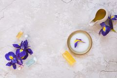Spa still life with beauty skin care products Royalty Free Stock Images