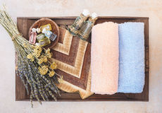 Spa still life with beauty skin care products Stock Photos