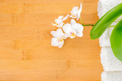 Spa still life with blooming orchid and towel on wood Royalty Free Stock Image