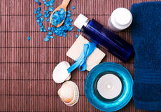 Spa still life with blue accessories Stock Photos