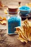 Spa still life with blue sea salt Royalty Free Stock Photos