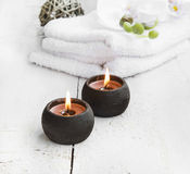 Spa still life with burning candles Stock Image