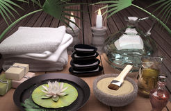 Spa still life with burning candles, clay mask and flower. Royalty Free Stock Photo