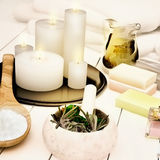 Spa still life with burning candles. Royalty Free Stock Images