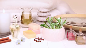 Spa still life with burning candles on light background. Royalty Free Stock Images