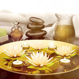 Spa still life with burning candles and lily flowers. Royalty Free Stock Photos
