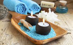 Spa Still Life with Burning Candles Stock Images