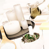 Spa still life with burning candles. Stock Photo