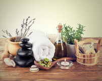 Spa still life. With candle Stock Photos