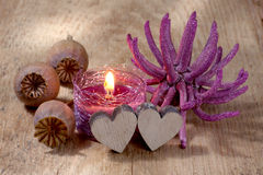 Spa still life candle and hearts with copy space Royalty Free Stock Image