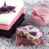 Spa  setting with  lavender soap and salt Stock Photo