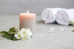 Spa still life with candle Royalty Free Stock Photo