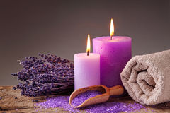 Spa still life with candles. And lavender Royalty Free Stock Images
