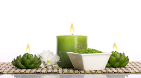 Spa still life with candles stock photo