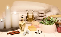 Spa still life with  candles on golden background. Royalty Free Stock Photos