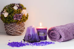 Spa. Still life with candles and lavender Stock Image