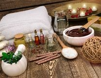 Spa still life with candles, seasalt and spa products. Royalty Free Stock Photography